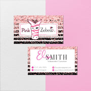 Pink Zebra Business Cards, Glitter Personalized Pink Zebra Template PZ04