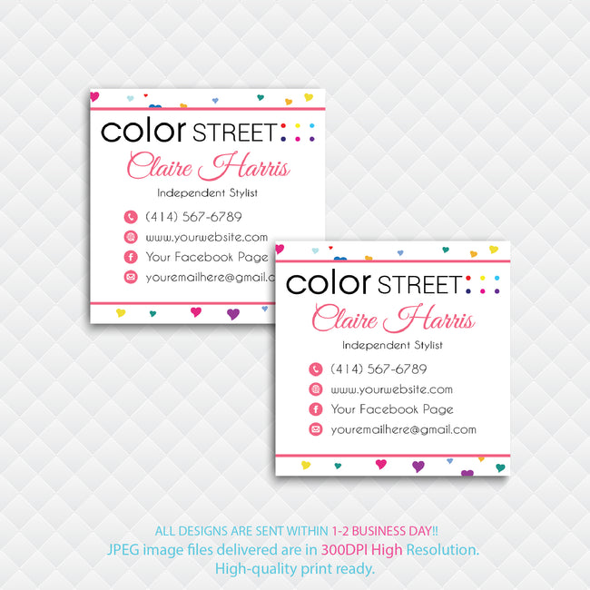 COLOR STREET SQUARE BUSINESS CARDS, PERSONALIZED COLOR STREET APPLICATION CARDS, CL08