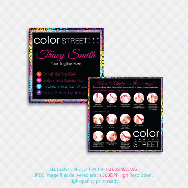 COLOR STREET SQUARE BUSINESS CARDS, PERSONALIZED COLOR STREET APPLICATION CARDS, CL07
