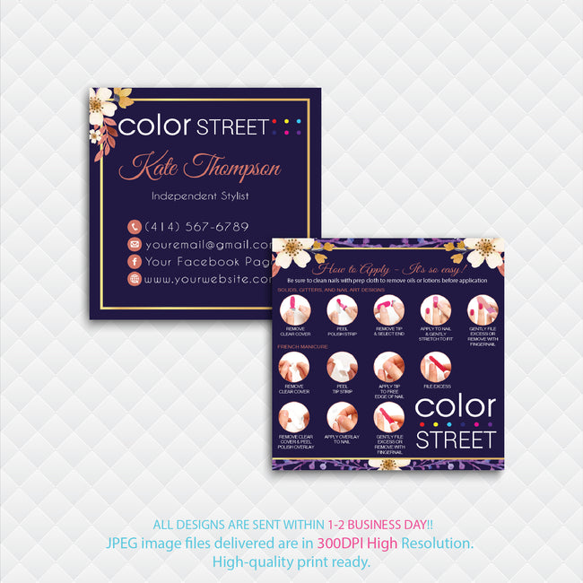 COLOR STREET SQUARE BUSINESS CARDS, PERSONALIZED COLOR STREET APPLICATION CARDS, CL06