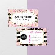 Floral Chalk Couture Business Card, Chalk Couture Business Cards CC14