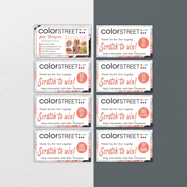 Glitter Color Street Marketing Bundle, Personalized Color Street Nail Cards CL204