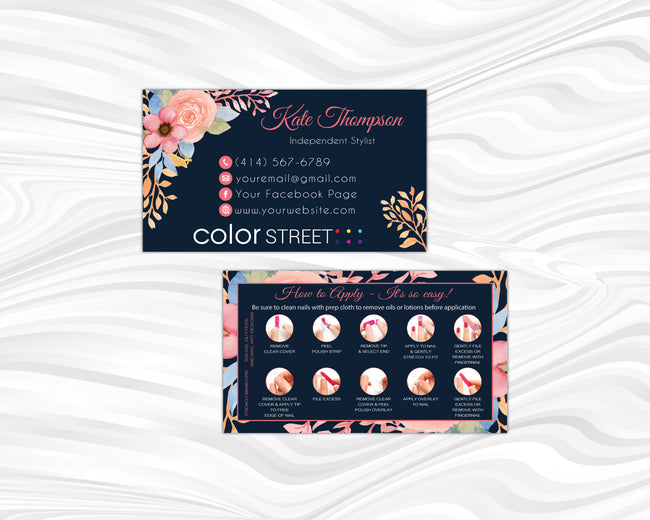 PERSONALIZED COLOR STREET APPLICATION CARDS, COLOR STREET BUSINESS CARDS CL91 - ToboArt