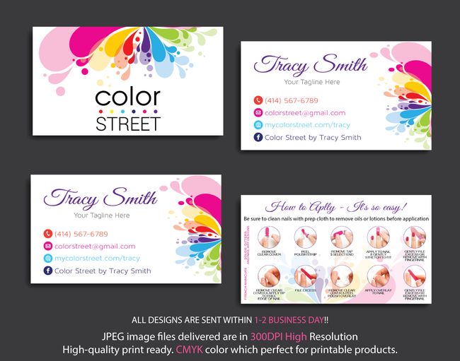 PERSONALIZED COLOR STREET BUSINESS CARDS, COLOR STREET APPLICATION CARDS, CL04 - ToboArt