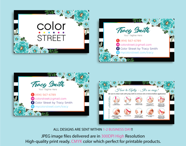 PERSONALIZED COLOR STREET BUSINESS CARDS, COLOR STREET APPLICATION CARDS, CL07