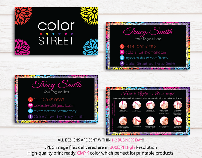 COLOR STREET BUSINESS CARDS, PERSONALIZED COLOR STREET APPLICATION CARDS, CL31 - ToboArt