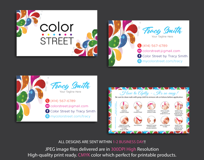 PERSONALIZED COLOR STREET BUSINESS CARDS, COLOR STREET APPLICATION CARDS, CL09