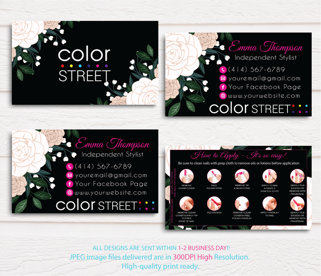 COLOR STREET BUSINESS CARDS, PERSONALIZED COLOR STREET APPLICATION CARDS, CL71 - ToboArt