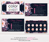 COLOR STREET BUSINESS CARDS, PERSONALIZED COLOR STREET APPLICATION CARDS, CL41 Blue