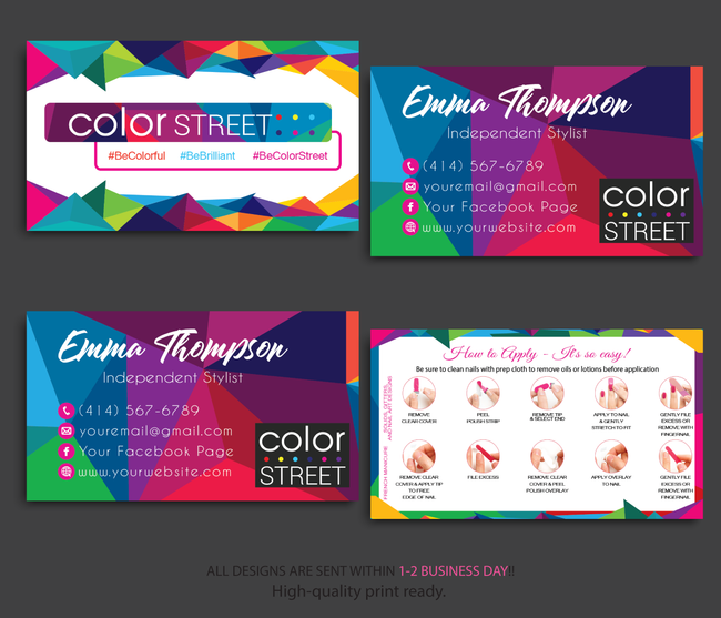 PERSONALIZED COLOR STREET BUSINESS CARDS, COLOR STREET APPLICATION CARDS, CL47