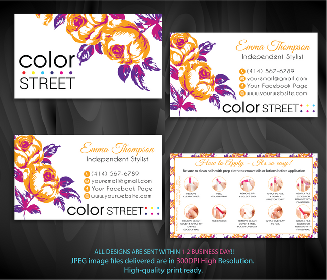 COLOR STREET BUSINESS CARDS, PERSONALIZED COLOR STREET APPLICATION CARDS, CL62 - ToboArt