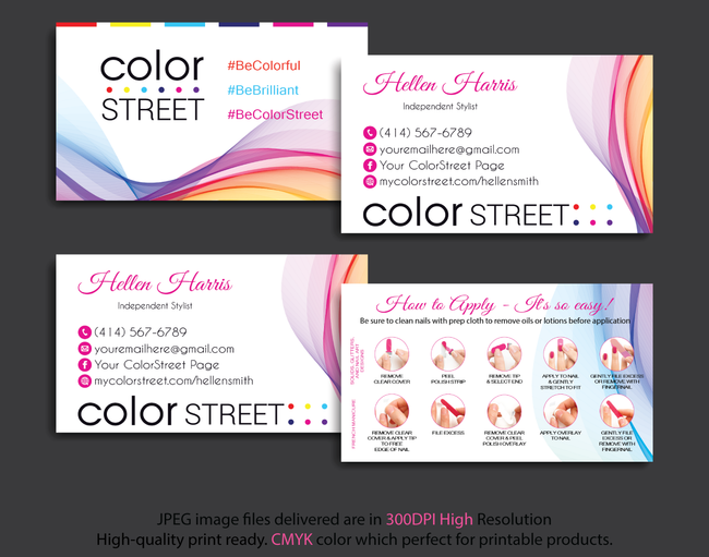 PERSONALIZED COLOR STREET BUSINESS CARDS, COLOR STREET APPLICATION CARDS, CL32