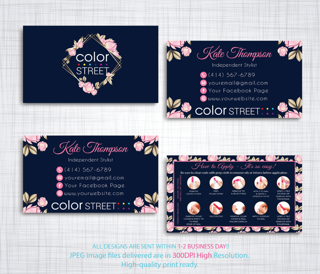 PERSONALIZED COLOR STREET BUSINESS CARDS, COLOR STREET APPLICATION CARDS, CL99 - ToboArt
