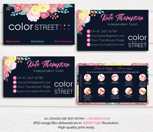 PERSONALIZED COLOR STREET BUSINESS CARDS, COLOR STREET APPLICATION CARDS, CL45 Blue - ToboArt