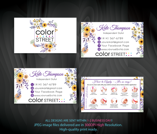 PERSONALIZED COLOR STREET BUSINESS CARDS, COLOR STREET APPLICATION CARDS, CL96 - ToboArt