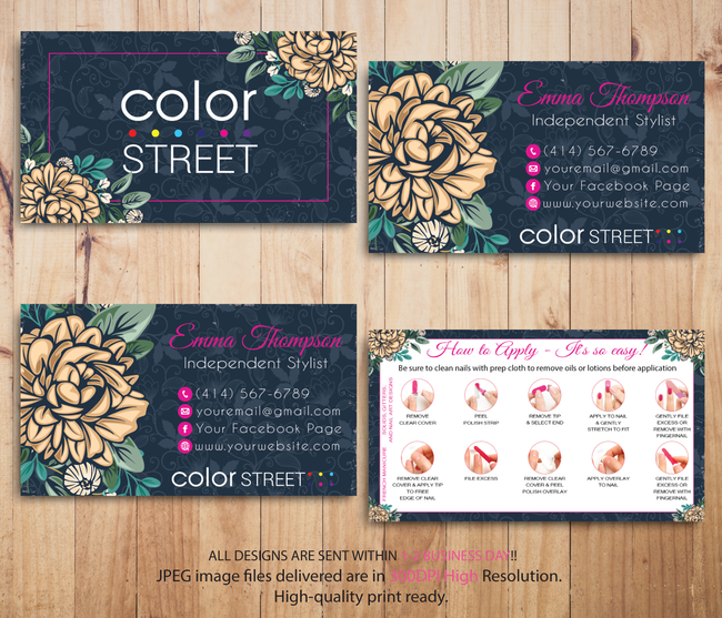 PERSONALIZED COLOR STREET BUSINESS CARDS, COLOR STREET APPLICATION CARDS, CL50