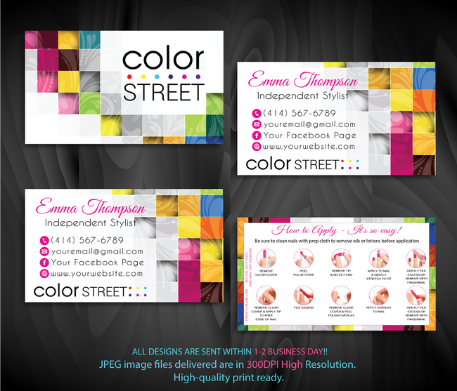 COLOR STREET BUSINESS CARDS, PERSONALIZED COLOR STREET APPLICATION CARDS, CL74