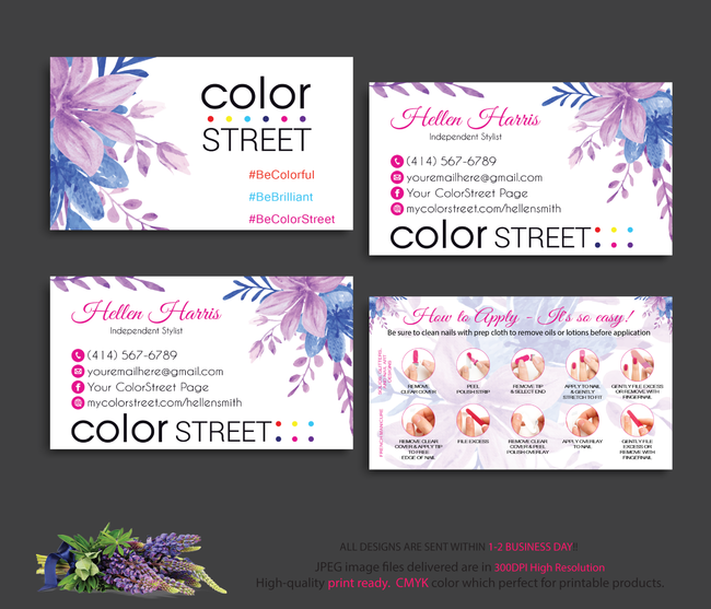 COLOR STREET BUSINESS CARDS, PERSONALIZED COLOR STREET APPLICATION CARDS, CL37 White