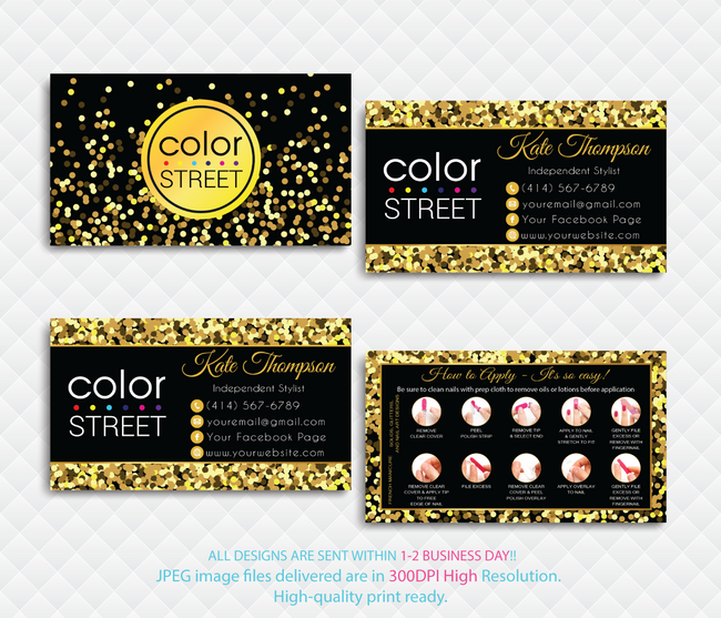 PERSONALIZED COLOR STREET BUSINESS CARDS, COLOR STREET APPLICATION CARDS, CL101 - ToboArt