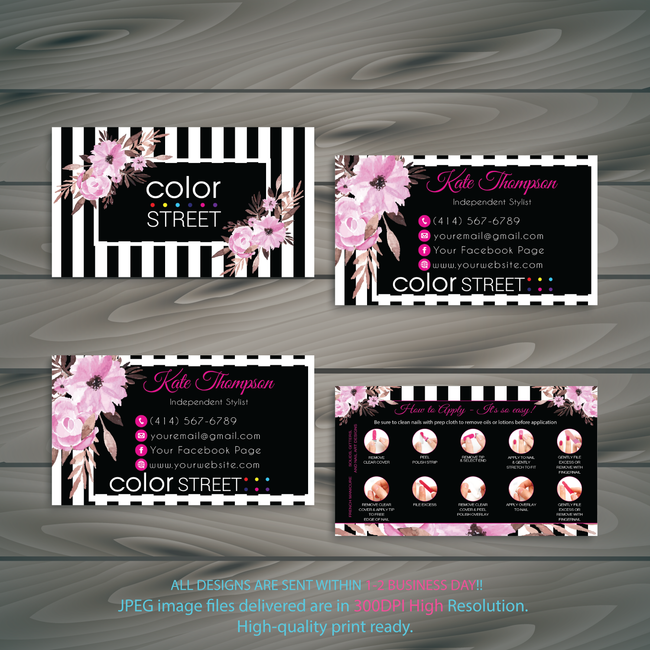PERSONALIZED COLOR STREET BUSINESS CARDS, COLOR STREET APPLICATION CARDS, CL82 - ToboArt