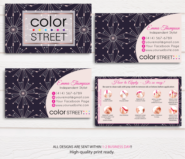 COLOR STREET BUSINESS CARDS, PERSONALIZED COLOR STREET APPLICATION CARDS, CL49
