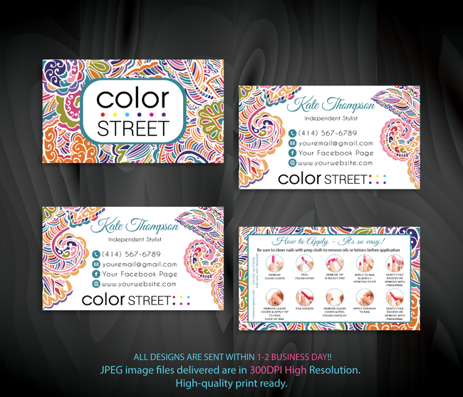 PERSONALIZED COLOR STREET BUSINESS CARDS, COLOR STREET APPLICATION CARDS, CL90