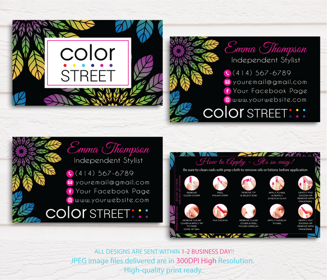 PERSONALIZED COLOR STREET BUSINESS CARDS, COLOR STREET APPLICATION CARDS, CL69 Black - ToboArt