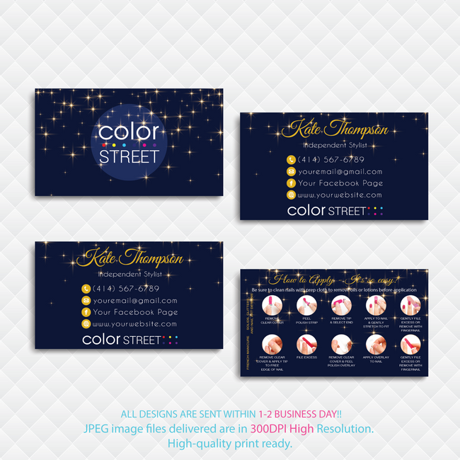 PERSONALIZED COLOR STREET BUSINESS CARDS, COLOR STREET APPLICATION CARDS, CL134 - ToboArt