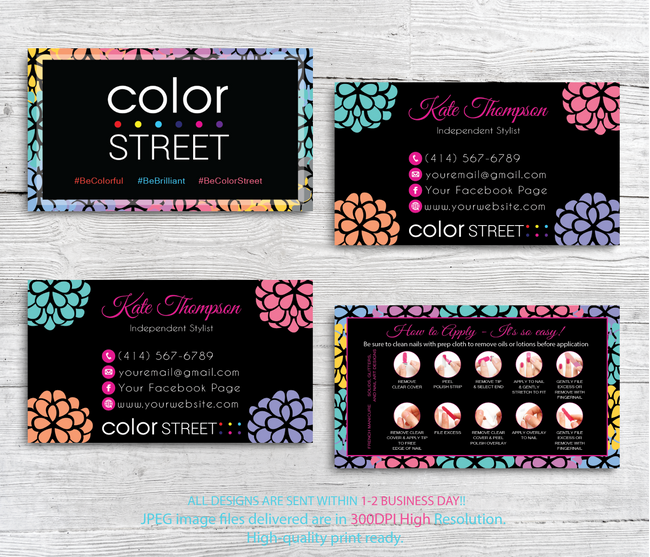 PERSONALIZED COLOR STREET BUSINESS CARDS, COLOR STREET APPLICATION CARDS, CL86