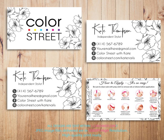 PERSONALIZED COLOR STREET BUSINESS CARDS, COLOR STREET APPLICATION CARDS, CL77 - ToboArt