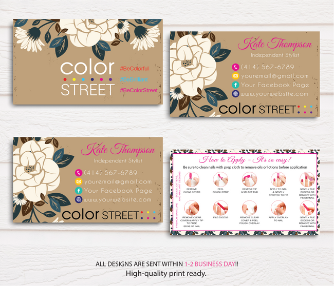 PERSONALIZED COLOR STREET BUSINESS CARDS, COLOR STREET APPLICATION CARDS, CL48 - ToboArt