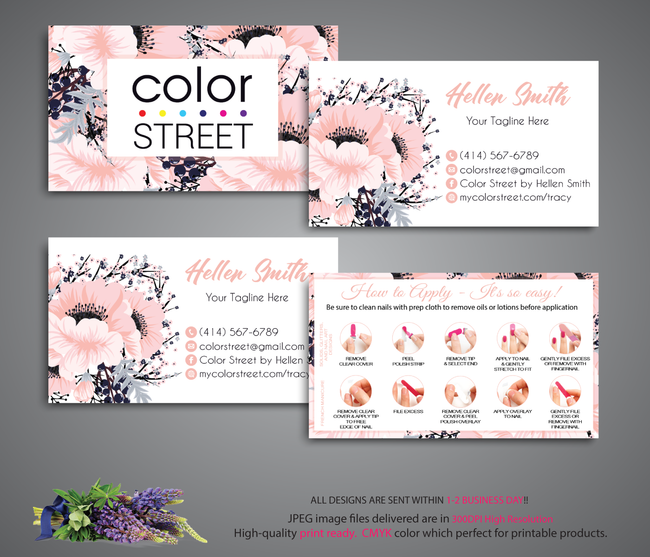 COLOR STREET BUSINESS CARDS, PERSONALIZED COLOR STREET APPLICATION CARDS, CL35