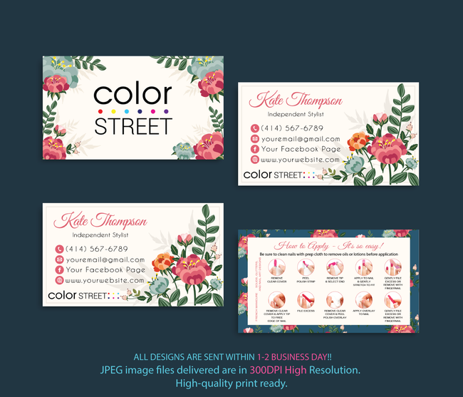 COLOR STREET BUSINESS CARDS, PERSONALIZED COLOR STREET APPLICATION CARDS, CL112 - ToboArt