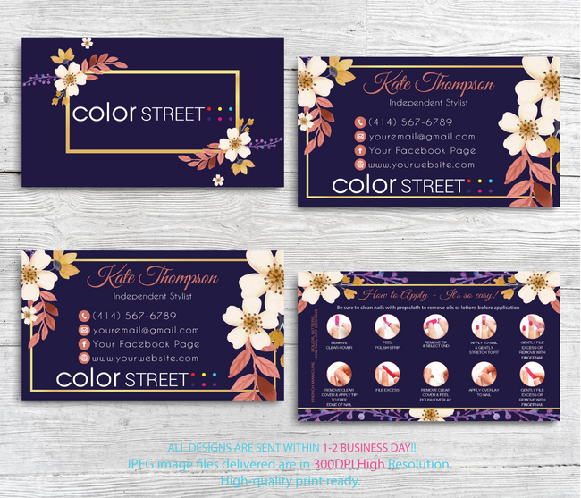 PERSONALIZED COLOR STREET BUSINESS CARDS, COLOR STREET APPLICATION CARDS, CL83 - ToboArt