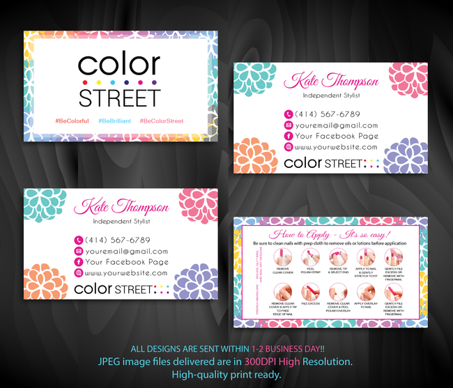 Color Street Marketing Bundle, Personalized Color Street Cards CL86 White - ToboArt