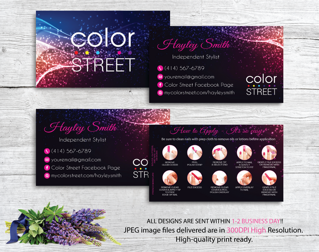 PERSONALIZED COLOR STREET BUSINESS CARDS, COLOR STREET APPLICATION CARDS, CL34 - ToboArt