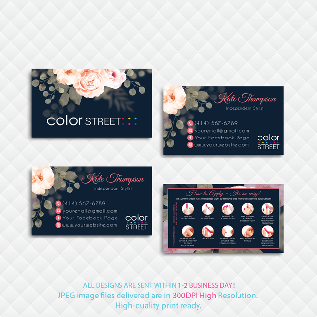 PERSONALIZED COLOR STREET BUSINESS CARDS, COLOR STREET APPLICATION CARDS, CL173