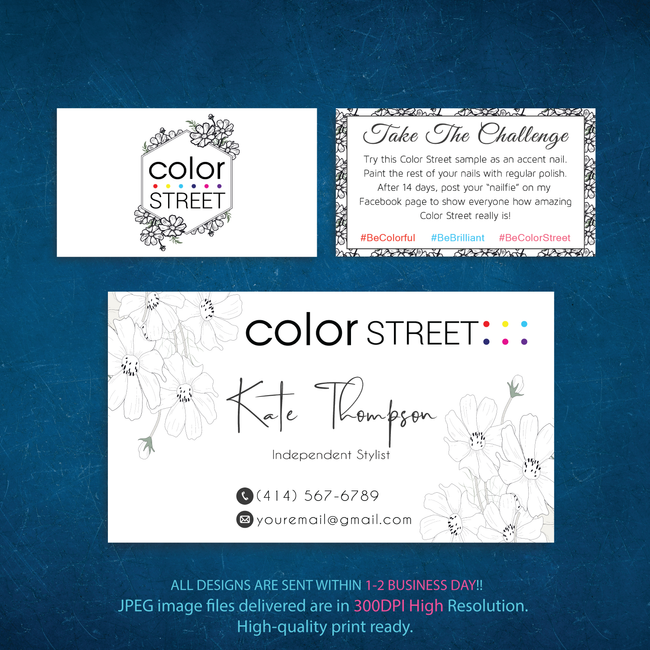 Color Street Marketing Bundle, Personalized Color Street Cards CL133 - ToboArt
