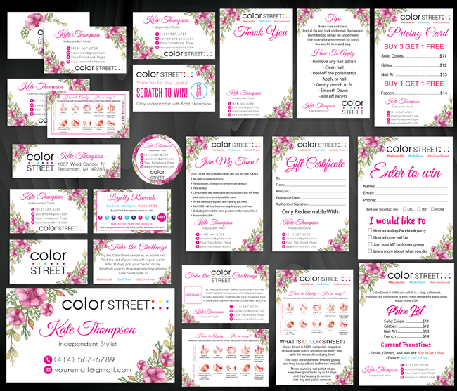 Color Street Marketing Bundle, Personalized Color Street Cards CL92 - ToboArt