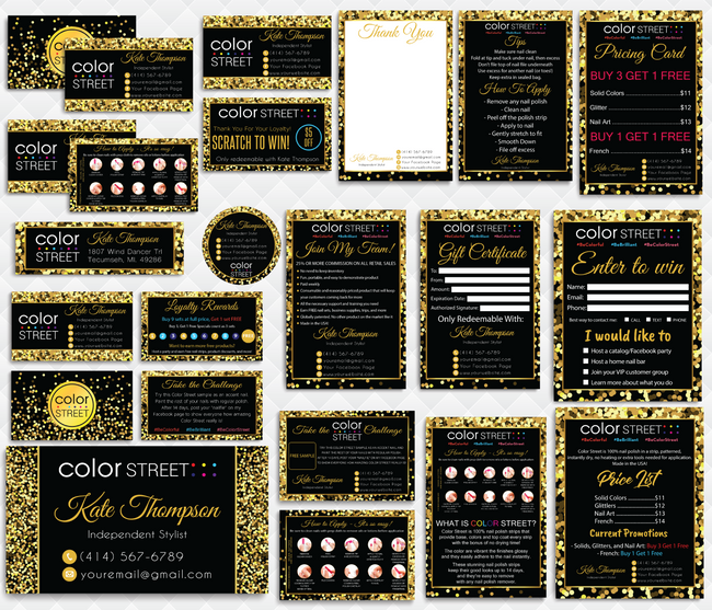Color Street Marketing Bundle, Personalized Color Street Cards CL101