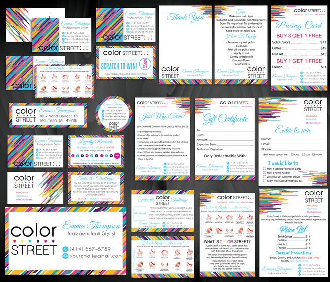 Color Street Marketing Bundle, Personalized Color Street Cards CL57
