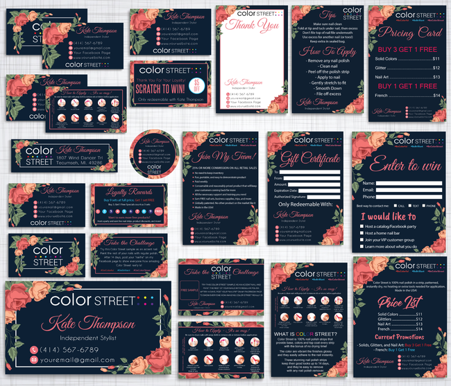 Color Street Marketing Bundle, Personalized Color Street Cards CL93 - ToboArt