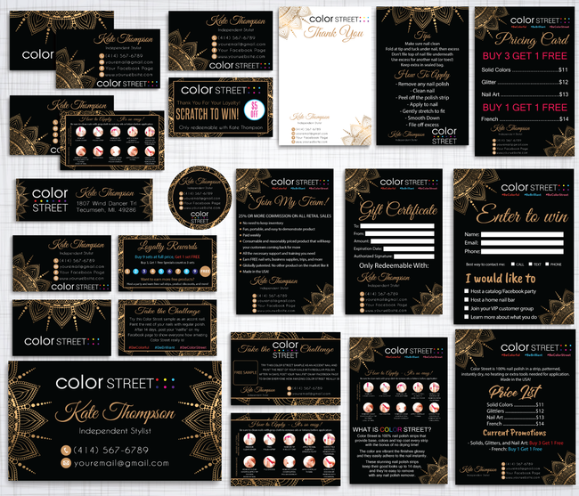 Color Street Marketing Bundle, Personalized Color Street Cards CL97