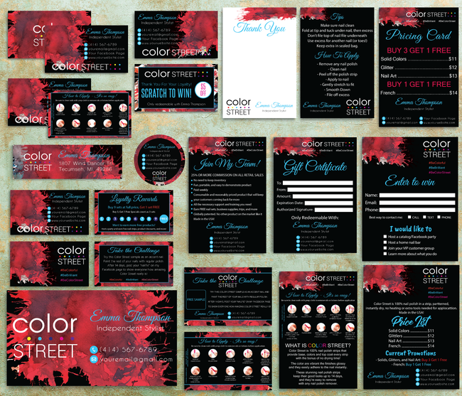 Color Street Marketing Bundle, Personalized Color Street Cards CL54
