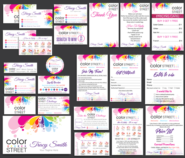 Color Street Marketing Bundle, Personalized Color Street Cards CL04 - ToboArt