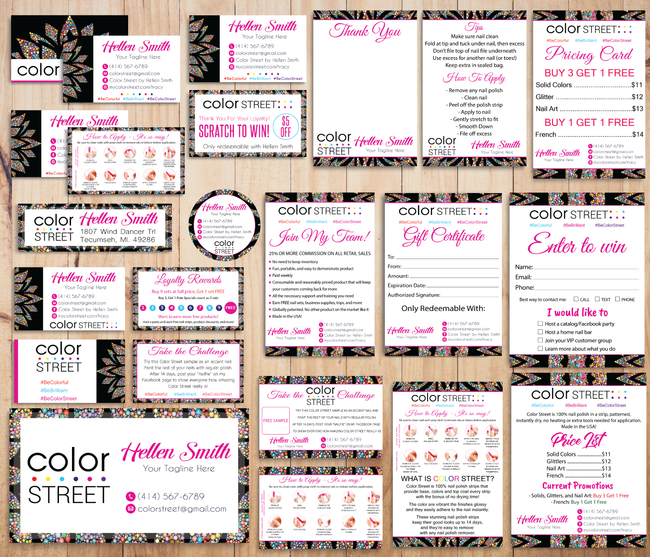 Color Street Marketing Bundle, Personalized Color Street Cards CL68