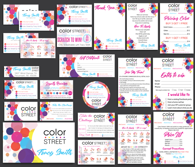 Color Street Marketing Bundle, Personalized Color Street Cards CL08