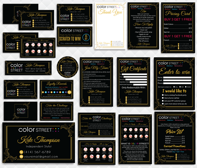 Color Street Marketing Bundle, Personalized Color Street Cards CL100 - ToboArt