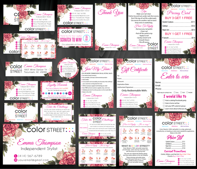 Color Street Marketing Bundle, Personalized Color Street Cards CL70 White - ToboArt