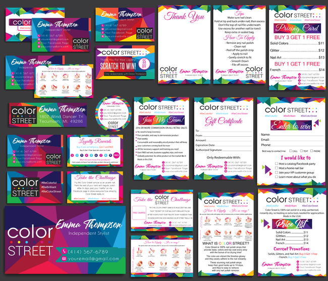 Color Street Marketing Bundle, Personalized Color Street Cards CL47 - ToboArt